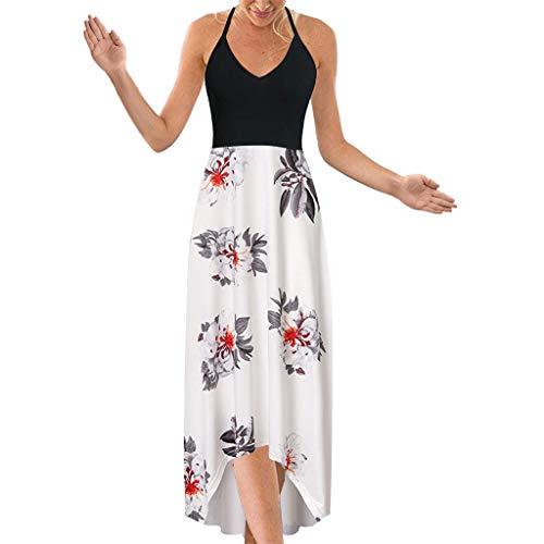 SHINEHUA Lange Kleider Damen Blumen Maxi Kleid Ärmellos V-Ausschnitt Kleider Sommerkleider Sexy Neckholder Abendkleid Strandkleid Party Chiffon Cocktailkleid Elegant Knielang Festlich