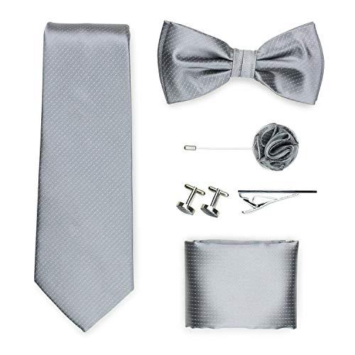 PUCCINI Exklusive Gentleman Geschenkbox mit Krawatte, Fliege, Einstecktuch, Krawattennadel, Manschettenknöpfe, Anstecknadel im klassischen Paisley-Muster (Silber)