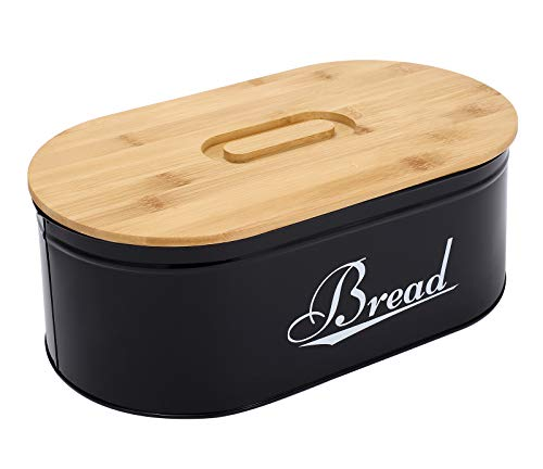 Boîte à pain en métal noir avec couvercle en bambou, boîte à pain de ferme pour comptoir de cuisine, décoration blanche