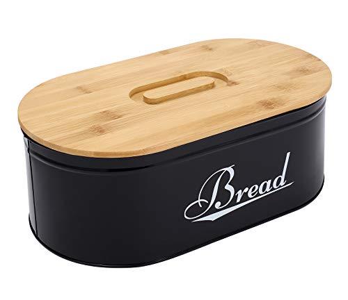 Gdfjiy Metal Black Bread Box Bread Storage, Bread Container with Bamboo Lid, Farmhouse Bread Box for Kitchen Countertop Kitchen Decor-White