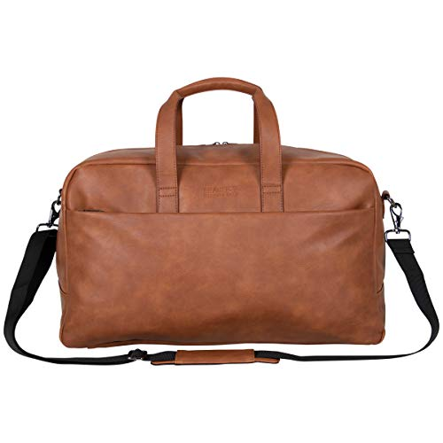 """Kenneth Cole Reaction Port Stanley 20"""" Pebbled Vegan Leather Carry-On Duffel/Travel Duffle Bag, Cognac"""