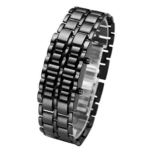 LAVA Watch Uhr Edelstahl LED Armbanduhr Herren Unisex Schwarz Armband