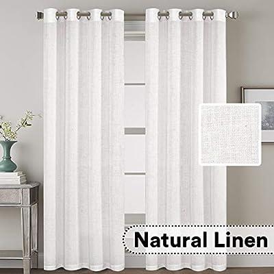 "H.VERSAILTEX Elegant Natural Linen Blended Energy Efficient Light Filtering Curtains/Nickel Grommet Window Treatments Panels/Drapes (Set of 2, Off White, 52"" x 96"")"
