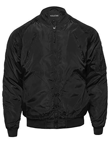 Classic Basic Style Zip Up Long Sleeves Windbreaker Bomber Jacket Black L