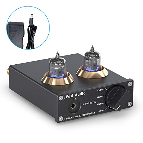 Fosi Audio Phono Preamp for Turntable Preamplifier MM Phonograph Preamplifier with Gain Gear Mini Stereo Audio Hi-Fi Pre-Amplifier for Record Player with DC 12V Power Supply Box X2