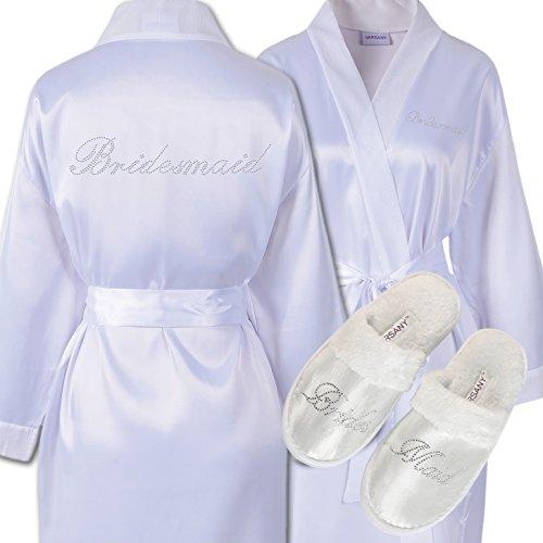 CrystalsRus Varsany Strass Bruidsmeisje Satijn Bruidsjurk & Spa Slipper bruiloft Gepersonaliseerde Diamante Dressing jurk Kimono (2)