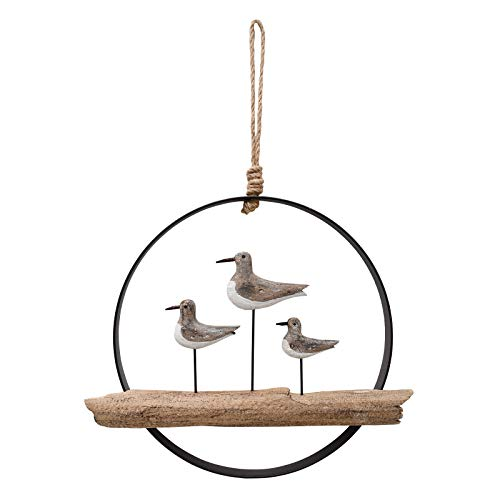 E-view Nautical Wood Wall Decoration Rustic Wooden Hanging Circle Ocean Home Decor Hand Carved Beach Themed Ornament for Door (Seagull)