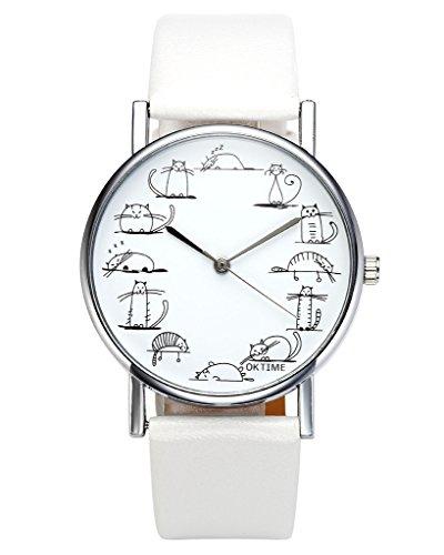 JSDDE Uhren,Fashion Cute Cartoon Katzen Armbanduhr Katze Skala Maedchen Damen Uhr PU Leder Band Analog Quarzuhr,Weiss