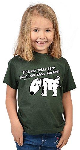Kinder T-Shirt mit Hund, Mädchen Shirt, Funshirt für Kids - Bleib mir lieber fern mein Hund kann Karate!