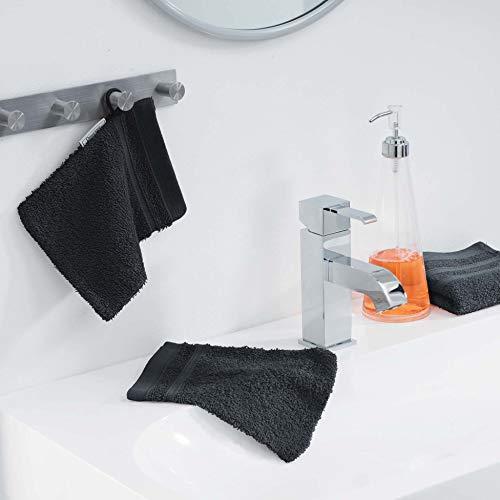 douceur d'intérieur 2 gants de toilette 15x21 cm eponge vitamine noir