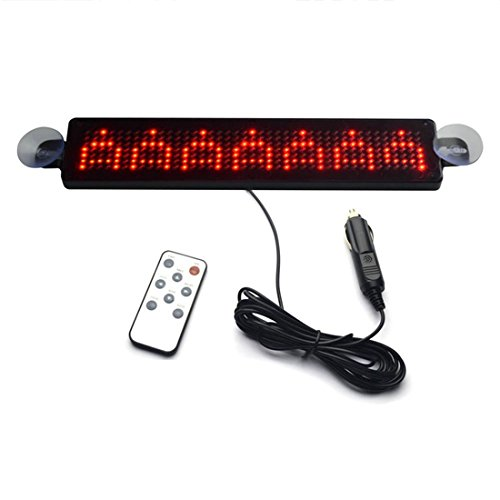 LED-Anzeigetafel - SODIAL(R)12V Auto LED Programmierbare Verkehrszeichen Rollen Anzeigetafel mit Fernbedienung (rot)