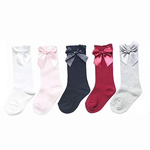 Baby Mädchen Kniestrümpfe, 5 Paar Spanische Kniestrümpfe Baumwolle Anti-Rutsch-Socken Neugeborene Gr. 0 - 2 Jahre, mehrfarbig