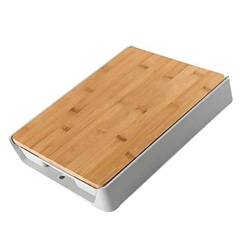Hemoton Drewniana deska do krojenia z pojemnikami, misa przesuwna, szuflada, bambusowa deska do krojenia, łatwe usuwanie odpadów, przygotowanie żywności, drewniany blok rzeźniczy