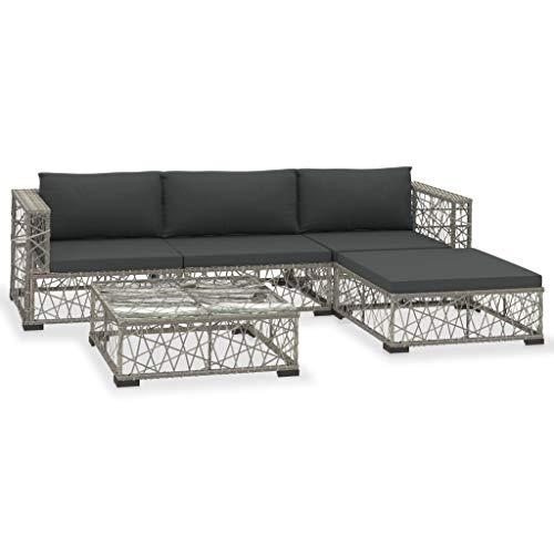 vidaXL Gartenmöbel 5-TLG. mit Auflagen Lounge Möbel Sitzgarnitur Gartengarnitur Sitzgruppe Sofa Gartenset...
