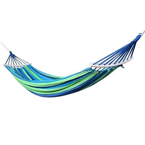 Hamaca de senderismo Hamaca portátil de lona, Barras de extensión de madera Cama giratoria de hamaca for acampar, Hamacas for dormir en cama colgante, Hamaca grande con rayas de colores, Hamacas ant