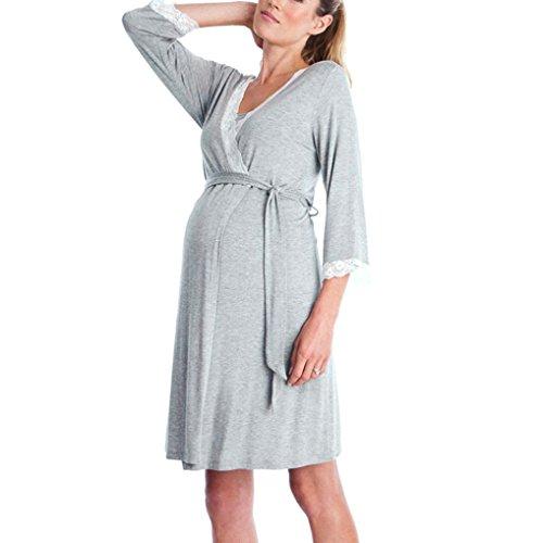 QinMM Vestido de Lactancia Maternidad de Noche Camisón Mujeres Embarazadas Ropa de Dormir Premamá Pijama Verano Encaje (B-Manga Larga, S)