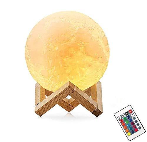 Lámpara De Luna Led 3D,16 Colores Luz de Noche Ambiente Lámparas, USB Recargable Remoto Control Control Táctil Luz Decorativa para Dormitorio, Salón (10CM)