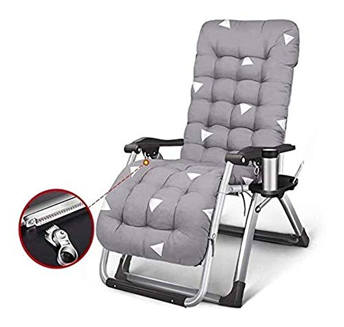 MTCWD Reclining Outdoor Folding Chairs Lounge Chair Zero Gravity Grey With Thick Cushion Chair Beach Sun Loungers