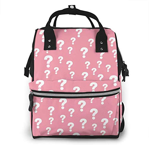 UUwant Mama Windel Rucksack Diaper Bag,Versatile Stylish and Durable, Suitable for Mom and Dad,Pink Question Mark