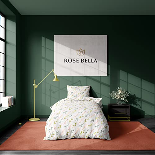 ROSE BELLA - Juego de Ropa de Cama 100% algodón Saten, Funda de edredon, Funda de Almohada (Cama 90  150x220   1 Funda de Almohada 50x60, Primavera)