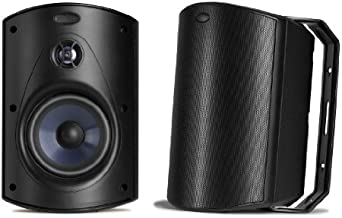Polk Audio Atrium 6 Outdoor Speakers with Bass Reflex Enclosure (Pair, Black) - All-Weather Durability | Broad Sound Coverage | Speed-Lock Mounting System