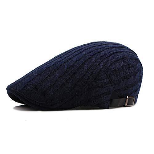 QQYZ Hat Herbst Und Winter Warm Männer Mittleren Alters Und Schwänze Und Einfache Barett Kappe Weiblich Einstellbare 56-59cm Doppelgeflecht-Strickmodell dunkelblau
