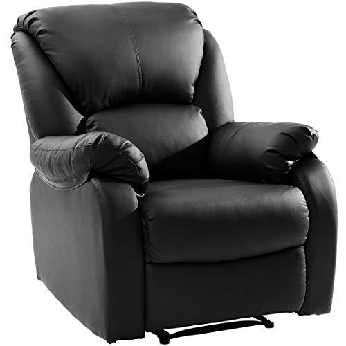 WGYDREAM Fernsehsessel Relaxsessel Schwarzer Sessel Lounge Sitz Ledersofa Verstellbares Kippsofa Push Back Lounge Chair Für Schlafzimmer Wohnzimmer Lounge Büro