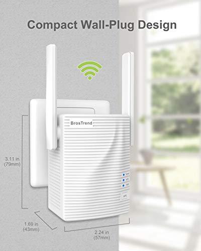BrosTrend Répéteur WiFi AC 1200 MB/s, Amplificateur WiFi, WiFi Extender, Booster WiFi, Couverture WiFi Étendue 5 GHz & 2,4 GHz Double Bande, Compatible avec Toutes Les Box Internet, 1 Port Ethernet