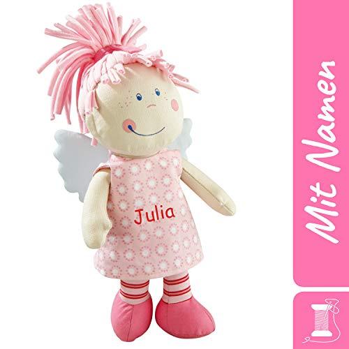 HABA Schutzengel Tine mit Namen Bestickt, weiche Stoffpuppe, Erste Baby Puppe, 0-5 Jahre Kuschelpuppe Taufgeschenk 3951