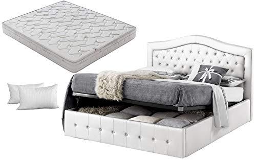 Letto matrimoniale con box contenitore bianco designe + materasso matrimoniale memory foam+coppia guanciali in fibra 3D