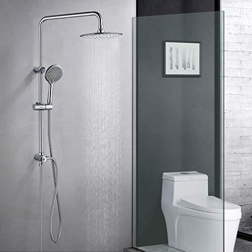 KAIBOR Duschsäule Duschset ohne Thermostat, Edelstahl Duschsystem mit Rund Kopfbrause 23 cm und 3 Strahlarten Handbrause, Geeignet für Dusche und Badewanne