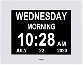 7 Inch Extra Large Non-Abbreviated Day Date & Month Digital Day Calendar Clock with Auto-Dimming 8 Alarm Reminders Dementia Clocks for Senior Elderly impaired Vision