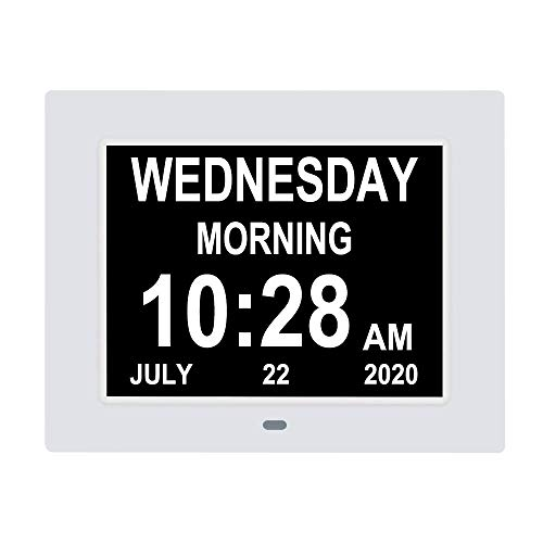 [2020 Newest] 7.5 Inch Extra Large Calendar Day Date Time Clocks with Non-Abbreviated Day Month Dementia Clock Perfect for Senior Vision impaired