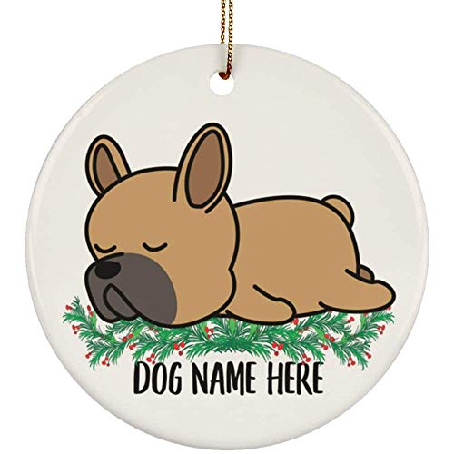 Lovesout Personalized Name Sleeping French Bulldog Fawn Christmas Tree Ornament Circle Ceramic
