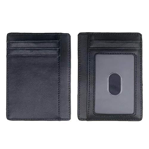 Bolsillo frontal delgado titular de la tarjeta de crédito, bloqueo RFID minimalista seguridad delgada titular de la tarjeta de los hombres, cuero negro para los hombres