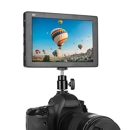 DSLR camera monitor, 7 inch IPS 4K HD 1920x1200 zoom, 360o horizontaal / 180o verticale opnamehoek monitor met afneembaar scherm draaien, 1/4 inch schroeven, voeding HDMI ingang/uitgang