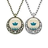 Collares plegables de papel con diseño de océano, amor de mar, vela, barco, colgante retro de luna y estrellas de joyería