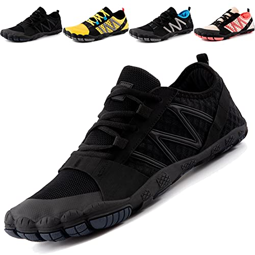 JACKSHIBO Barfussschuhe Herren Barfußschuhe Damen Laufschuhe Outdoor Fitnessschuhe Sport Traillaufschuhe Schnell Trocknend Minimalistische Zehenschuhe (Schwarz,42EU)