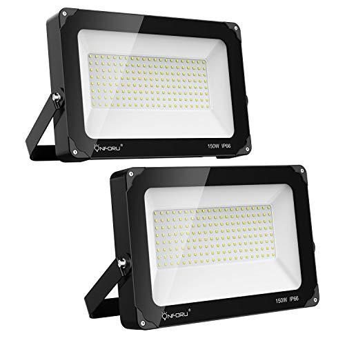 Onforu 2 Pack 150W LED Flood Light, 15,000lm Super Bright Security Lights, IP66 Waterproof Outdoor Flood Light, 5000K Daylight White Floodlight for Yard, Garden, Playground, Garages, Basketball Court
