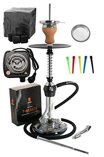 ELOX Eco 580 Twist Set con cocina eléctrica carbón de cachimba boquillas desechables pinzas gestor de calor (Blackground)