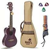 Concert Ukulele Bundle, Deluxe Series by Hola! Music (Model HM-124PP+), Bundle Includes: 24 Inch Mahogany Ukulele with Aquila Nylgut Strings Installed, Padded Gig Bag, Strap and Picks - Purple