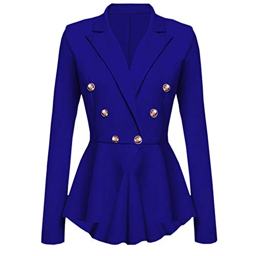Hniunew Work Blazer Pumps Jacke FüR Damen Sakko Einem Knopf Und RüSchen Am Saum Hoch Niedrig Freizeitjacke Mantel Outwear Cardigan Retro Bolero Business Trenchcoat Outdoorjacken