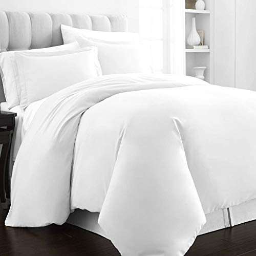 400 Thread Count Cotton King-Size-Duvet-Cover Sets White, 100% Long Staple Cotton White-Bedding-Set, Luxurious soft sateen Quilt-Covers King Size Bedding (100% Cotton King Size Duvet Cover Sets)