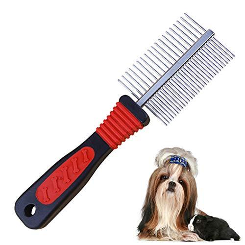 SOOJET Peines para Perros, Peine de Peluquería Canina Peine Doble Peine de peluquería Cepillo para Perros de Acero Inoxidable Peine para Cuidado de Mascotas (1PCS)