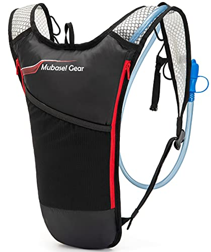 Mubasel Gear Hydration Backpack Pack with 2L BPA Free Bladder - Lightweight Pack Keeps Liquid Cool Up to 4 Hours- Outdoor Sports Gear for Running Hiking Cycling Skiing