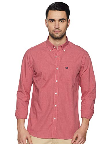 Arrow Sports Men's Solid Regular fit Casual Shirt (ASXSH1474_Orange 39)