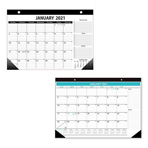 Calendario de pared 2020-2021, calendario de escritorio de 18 meses, 30,48 x 43 cm, calendario de pared con sección de notas para una fácil planificación (azul)
