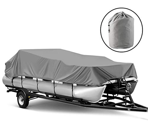 Universal Boat Adjustable Cover, 600D Heavy Duty Waterproof UV Resistant Marine Grade Polyester Fabric Trailerable Boat Cover Pontoon Boats Protection...