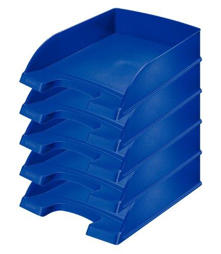 Leitz 52270035 - Paquete de 5 bandejas de correo apilables, azul