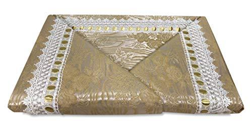 tex family Tagesdecke LUXORY Jacquard Gold veredelt mit Makramee Spitze für Doppelbett Idea Braut